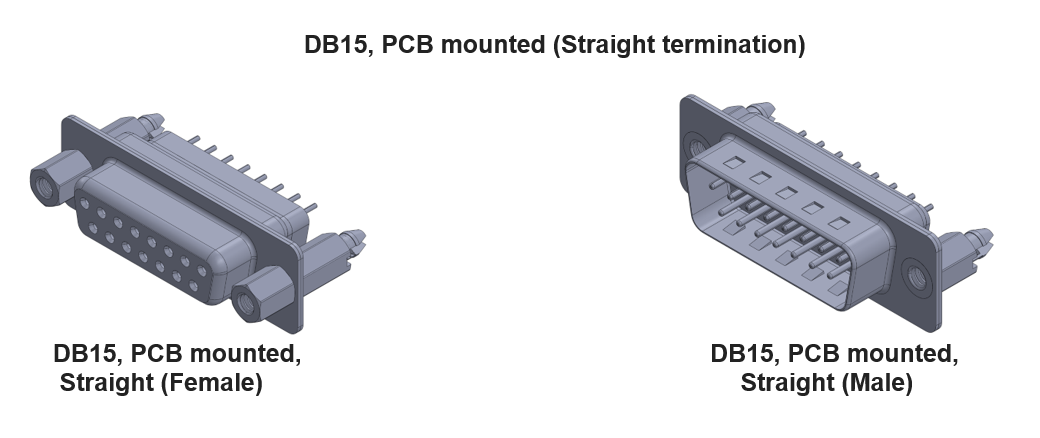 db15 connector with straight termination