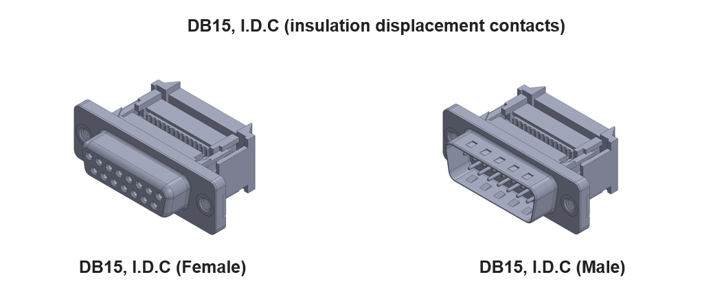 DB15 Connector with insulation displacement contacts (IDC or I.D.C)