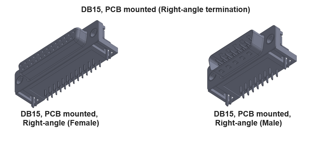 DB15 Connector with right-angle termination