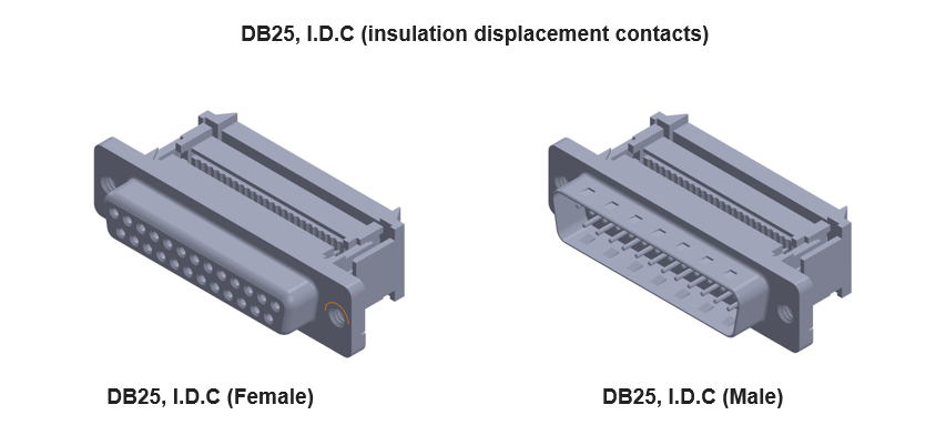 db25 connecto with insulation displacement contacts (IDC or I.D.C)