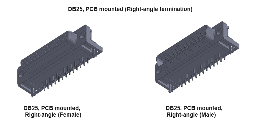 DB25 Connector with right-angle termination
