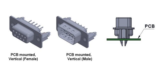 Vertical PCB D-Sub Connector
