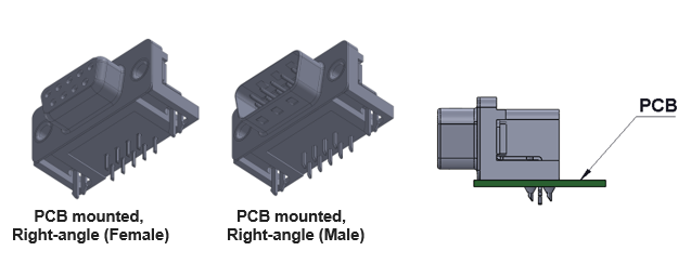 Right angle PCB D-Sub Connector